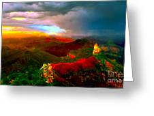 Sunset Imperial Peak North Grand Canyon Panorama Greeting Card