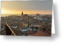 Sunset In Calahorra From The Bell Tower Of Saint Andrew Church Greeting Card