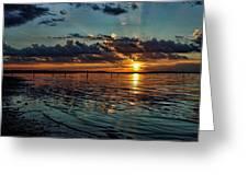 Sunset In Cyan Greeting Card