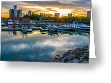 Sunset In Detroit Greeting Card