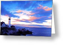 Sunset In Fork Williams Lighthouse Park Portland Maine State Greeting Card