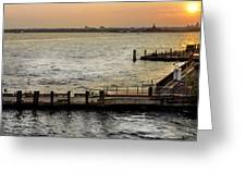 Sunset In Manhattan Pier Greeting Card