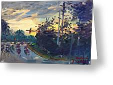 Sunset In Military Highway Norfolk Va Greeting Card