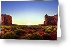 Sunset In Monument Valley Greeting Card