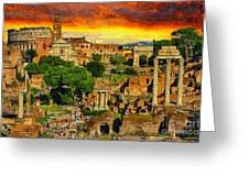 Sunset In Rome Greeting Card by Stefano Senise