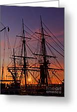 Sunset In San Diego Harbor Greeting Card