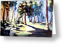 Sunset In The Forest Greeting Card