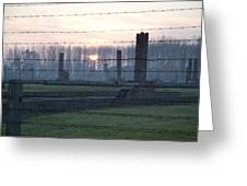Sunset In The Former Death Camp Auschwitz Birkenau Poland Greeting Card