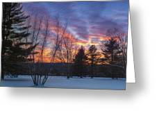 Sunset In The Park Square Greeting Card