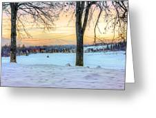 Sunset In The Snow Greeting Card