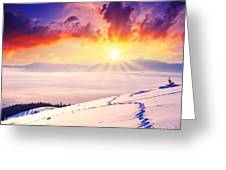 Sunset In The Winter Greeting Card by Boon Mee
