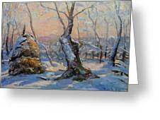 Sunset In The Winter Greeting Card