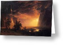 Sunset In The Yosemite Valley Greeting Card