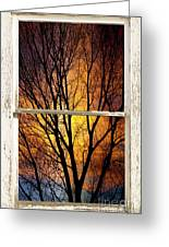 Sunset Into The Night Window View 3 Greeting Card