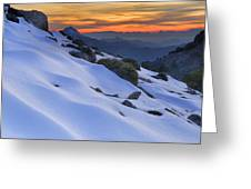 Sunset Light On The Snow Greeting Card