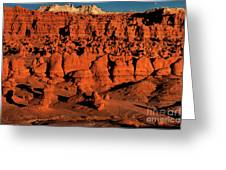 Sunset Light Turns The Hoodoos Blood Red In Goblin Valley State Park Utah Greeting Card