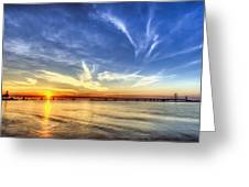 Sunset Mackinac Bridge Greeting Card