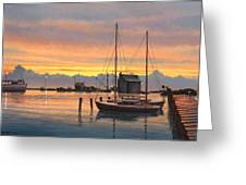 Sunset-north Dock At Pelee Island   Greeting Card