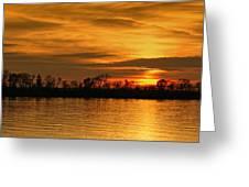 Sunset - Ohio River Greeting Card by Sandy Keeton