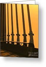 Sunset On A Bridge Greeting Card