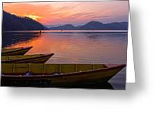 Sunset On A Mountainlake Greeting Card