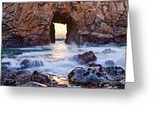 Sunset On Arch Rock In Pfeiffer Beach Big Sur California. Greeting Card