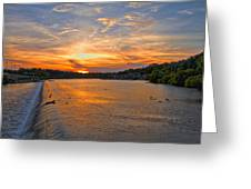 Sunset On Boathouserow Greeting Card