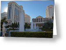 Sunset On Caesar's Palace Greeting Card by Natural Focal Point Photography