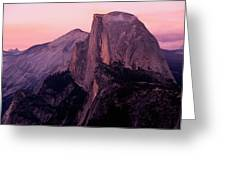 Sunset On Half Dome As Seen Greeting Card