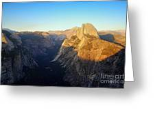 Sunset On Half Dome In Yosemite Greeting Card