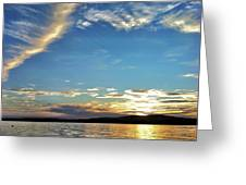Sunset On Lake Wentworth Greeting Card by Richard Lent