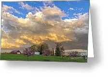 Sunset On Mixed Clouds Greeting Card