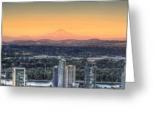 Sunset On Mount Hood Greeting Card