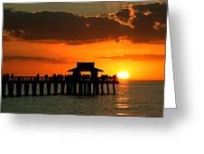 Sunset On Naples Pier Greeting Card