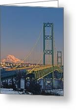 1a4y20-v-sunset On Rainier With The Tacoma Narrows Bridge Greeting Card