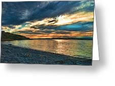 Sunset On Rocky Beach Greeting Card