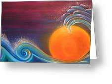 Sunset On Surf Greeting Card