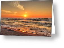 Sunset On The Baltic Sea Beach Of Leba In Poland Greeting Card