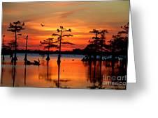 Sunset On The Bayou Greeting Card
