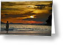 Sunset On The Beach At Krabi Thailand Greeting Card