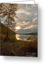 Sunset On The Columbia Greeting Card by Cari Gesch