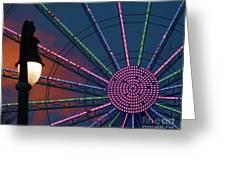 sunset on the Ferris wheel Greeting Card