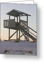 Sunset On The Gaurd Shack Greeting Card