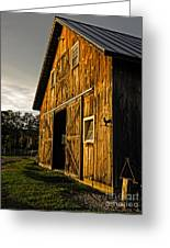 Sunset On The Horse Barn Greeting Card