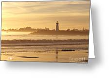 Sunset On The Lighthouse In Santa Cruz Harbor Greeting Card