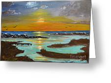 Sunset On The North Sea Greeting Card