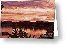 Sunset On The Ohio River  Greeting Card
