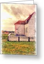 Sunset On The Old Farm House Greeting Card