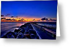 Sunrise On The Pier Greeting Card