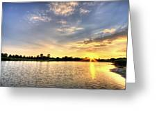 Sunset On The Pond Greeting Card